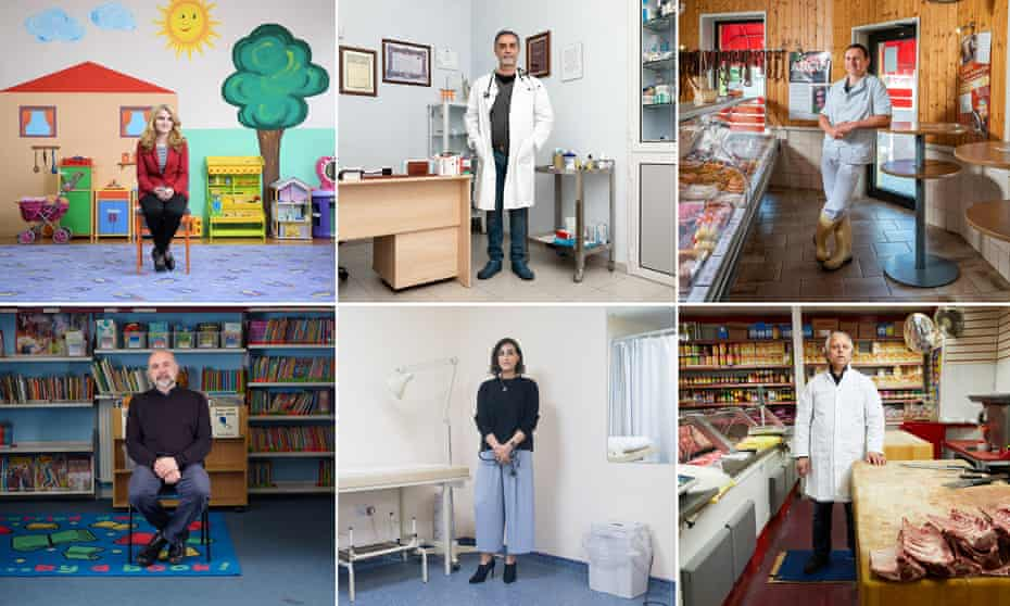 Clockwise from top left: Violeta Strahinjevic, director of Milan Petrović School, Novi Sad; Antonio Barillà, family doctor in Turin; Benny Gränitz at his family butcher's in Chemnitz, Germany; Tanwir Jilani in his butcher's in Manchester; Punam Krishan, GP in Glasgow; Robert Holderness, headteacher at The Parkside School, Norwich.