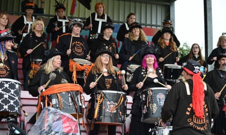 The Earthquake Drummers welcome Lewes Women on to the pitch before their game against Tottenham Hotspur.