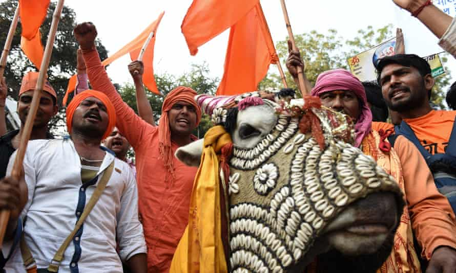 Indian activists from the Bharatiya Gau Kranti Manch group shout slogans against the killing of cows during a protest in New Delhi.