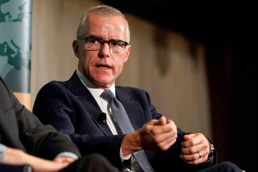 Andrew McCabe, author of The Threat, speaks at a forum on election security in Washington.