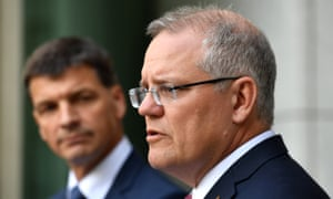 Energy minister Angus Taylor and PM Scott Morrison announced plan to boost investment in power generation.