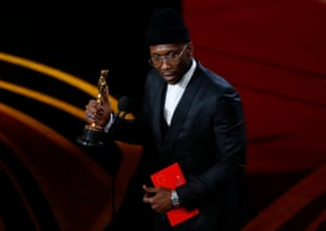 Mahershala Ali accepts the best supporting actor award for his role in Green Book. He won the same award for Moonlight last year