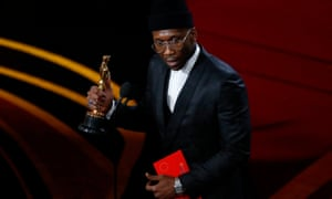Mahershala Ali accepting the best supporting actor Oscar