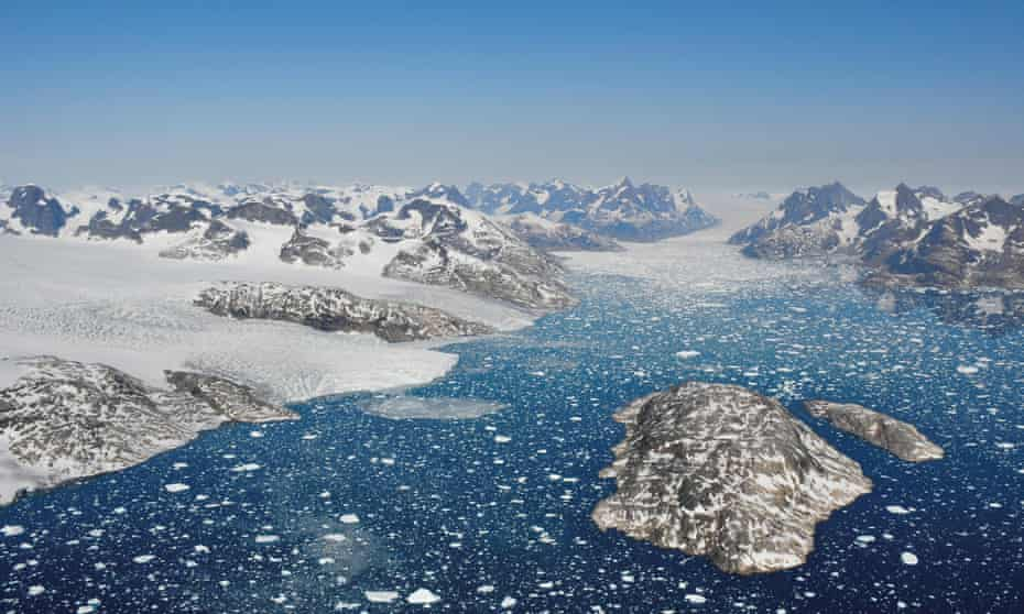 Glaciers calving icebergs in south-west Greenland
