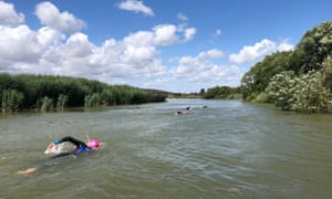 River Arun, East Sussex. Guided swim with Swimquest