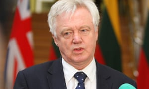 David Davis during a press conference in Vilnius