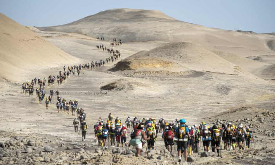 No end in sight ... competitors in the Ica desert on the first, 250km Marathon des Sables Peru last November.
