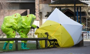 Specialist officers in protective suits investigate the first novichok incident – the poisoning of the Skripals, in Salisbury.
