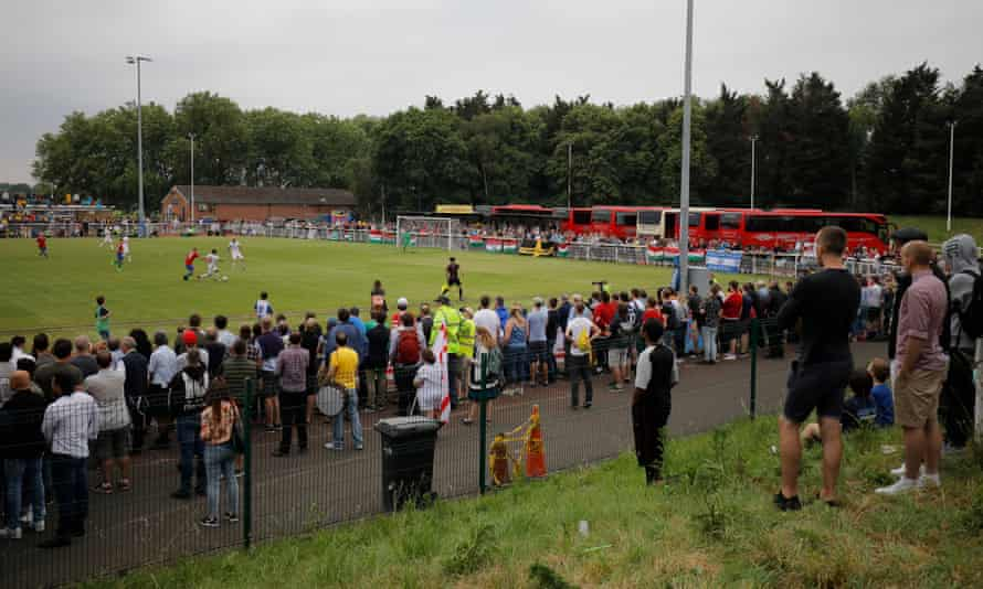 A crowd watches Northern Cyprus v Karpatalya in the Conifa World Cup final at the Queen Elizabeth II Stadium in Enfield, north London, in 2018.