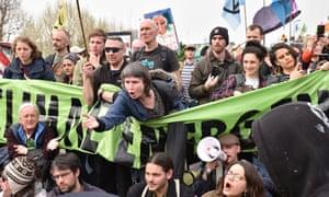 Extinction Rebellion protesters on Waterloo Bridge