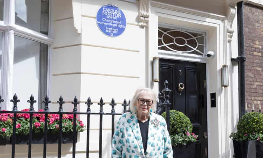 Lady Antonia Fraser at the unveiling of the plaque in Mayfair, London.