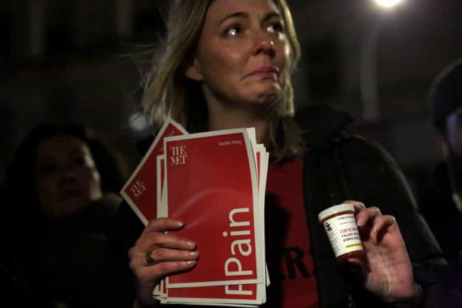 A demonstrator at a New York protest to raise awareness of prescription painkiller abuse
