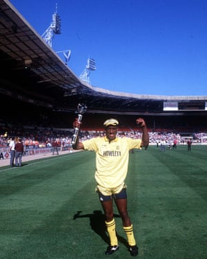 Dion Dublin celebrating at Wembley.