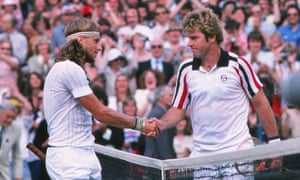 Bjorn Borg and Roscoe Tanner shake hands at the end of the 1979 Wimbledon men's singles final won by the Swede in five sets