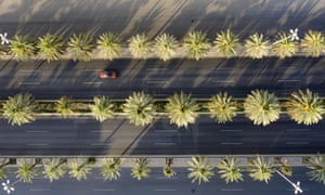 An aerial view shows a section of the nearly-deserted King Fahad road in the Saudi capital Riyadh, on 24 May 2020.
