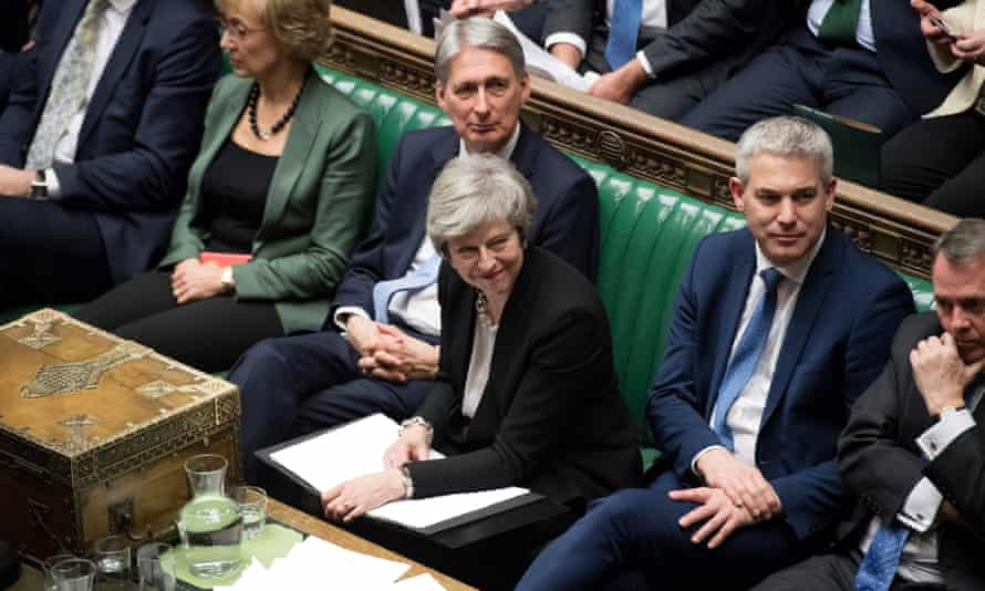 Theresa May during the vote on Brexit deal amendments in the House of Commons on Tuesday.