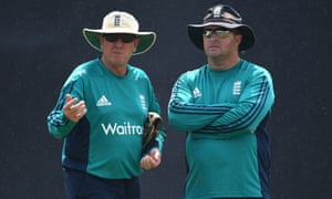 Trevor Bayliss (left) and Paul Farbrace in Bangladesh during Farbrace's time as Bayliss's assistant coach with England.