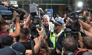George Pell leaves Melbourne's county court in February. Victorian prosecutor's have responded to Pell's attempt to have an appeal heard by the high court.