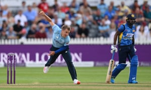 Sam Curran in action for England.