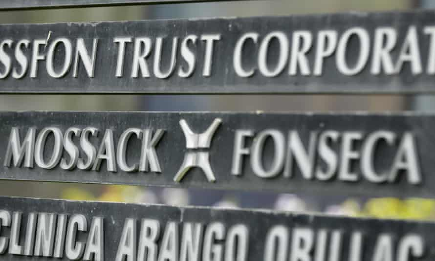 Marquee on a building in Panama City lists the Mossack Fonseca law firm.