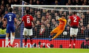 Sergio Romero parries Luiz's free-kick.