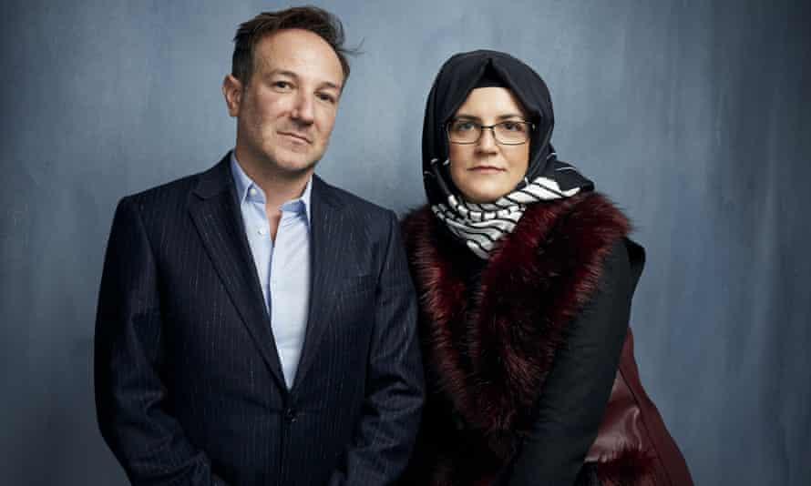 Documentary maker Bryan Fogel with Khashoggi's fiancee, Hatice Cengiz.