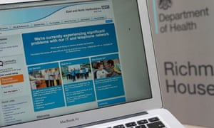 An NHS website notifying users of a problem on its network last Friday