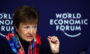IMF managing director Kristalina Georgieva speaks at a news conference ahead of the World Economic Forum in Davos, Switzerland.