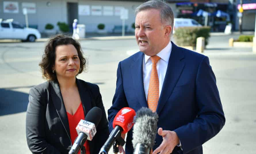 Shadow communications minister Michelle Rowland with Labor leader Anthony Albanese