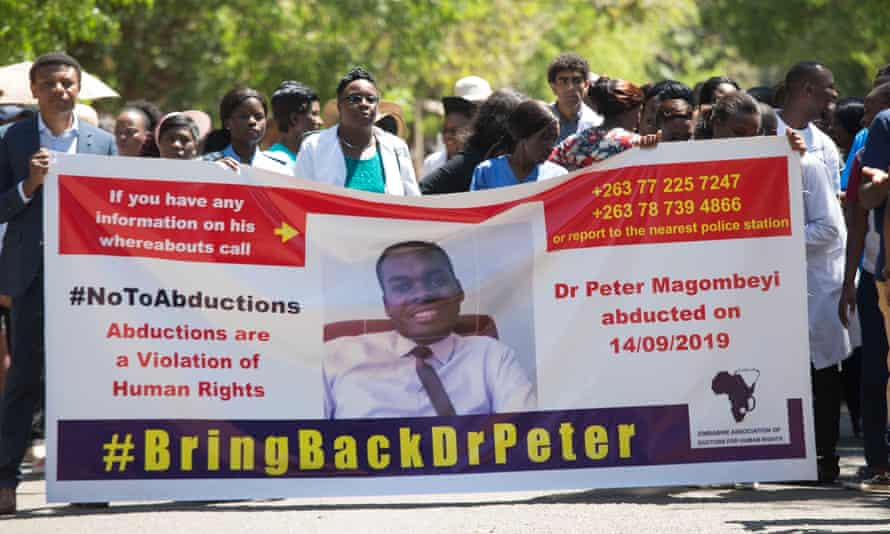 Doctors protesting earlier this week over the disappearance of Magombeyi