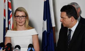 Nick Xenophon Team senator Skye Kakoschke-Moore with party leader Nick Xenophon