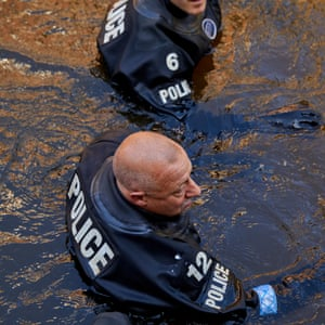 Officers carry out an exercise on Rochdale canal through Manchester
