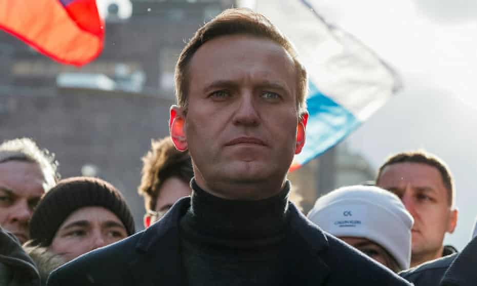 Alexei Navalny at a rally in February 2020