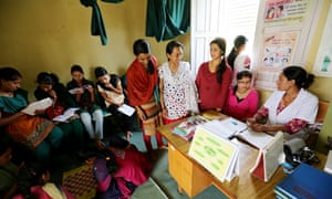 Sankhu community clinic Kavre. FPAN works with girls and young women in schools and communities to engage them as peer educators, spreading sexual health information within their communities.