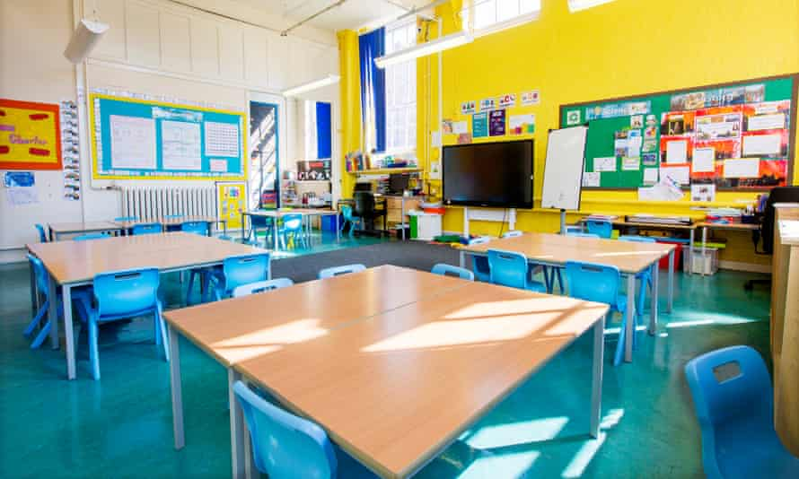 An empty primary classroom during the lockdown