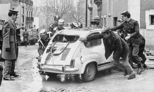 The wrecked car of Spanish prime minister Luis Carrero Blanco after an Eta bomb attack in Madrid in 1973.