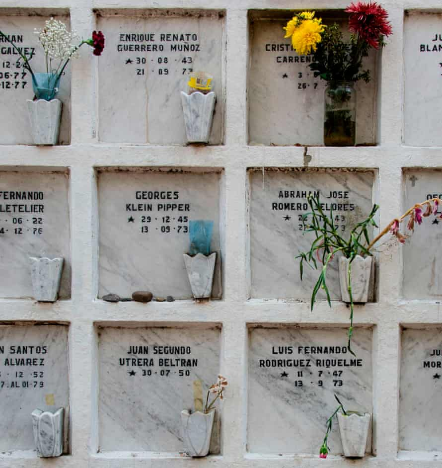 Niches containing human remains belonging to people who disappeared during the 1973-1990 military dictatorship of Augusto Pinochet in Chile, at the general cemetery of Santiago