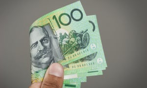 closeup details of Australian one hundred dollar bills