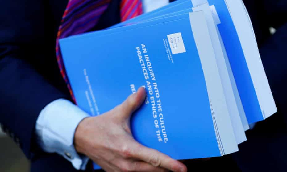 Copies of Lord Justice Brian Leveson's report on media practices, 29 November 2012