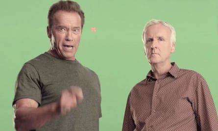 'Less meat, less heat, more life' … Arnold Schwarzenegger and James Cameron on the shoot of their PSA.