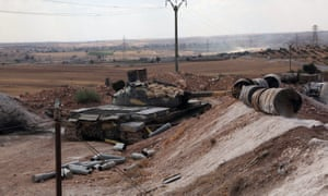 A Syrian army tank is seen on the southern outskirts of Aleppo.
