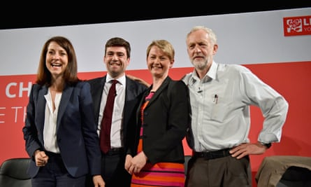 Liz Kendall, Andy Burnham, Yvette Cooper and Jeremy Corbyn after a Labour party leadership hustings last month.