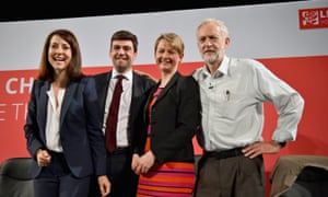 Labour leadership candidates Liz Kendall, Andy Burnham, Yvette Cooper and Jeremy Corbyn at a hustings in Glasgow in July.