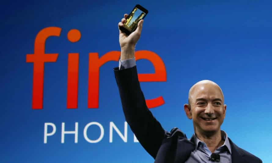 Amazon CEO Jeff Bezos, at the launch of the Fire Phone, the company's failed attempt to take on Apple in the smartphone market.