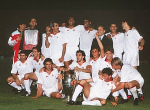 1989: Berlusconi celebrates with his AC Milan team after beating Steaua Bucharest in the European Cup final