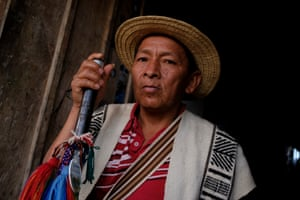 Tuthense José Rene Guetio, elder leader of the Nasa indigenous people. The Nasa are one of the biggest and most organised groups in the Cauca region who are calling for the reclamation of ancestral territory in what they call the Campaign to Liberate Mother Earth. This has led to conflict between the community and land owners backed by state security forces.