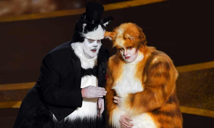 James Corden and Rebel Wilson onstage during the Oscars.