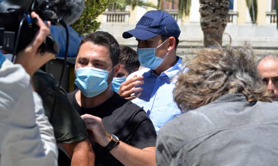 Manchester United's Harry Maguire leaves court on the island of Syros in a cap last Saturday.