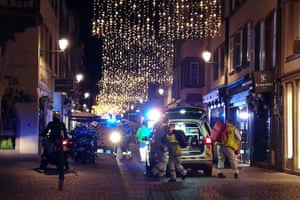 Rescuers at the scene of gun attack near Strasbourg Christmas Market.