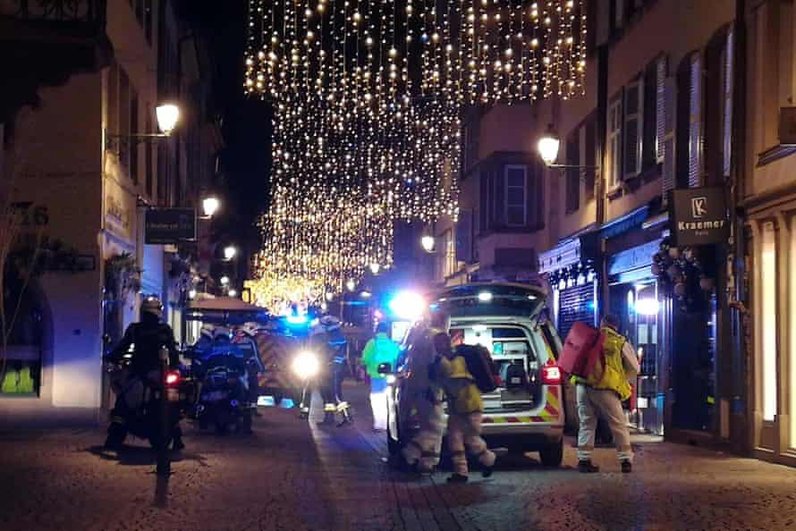 Rescuers at the scene of gun attack near Strasbourg Christmas Market.
